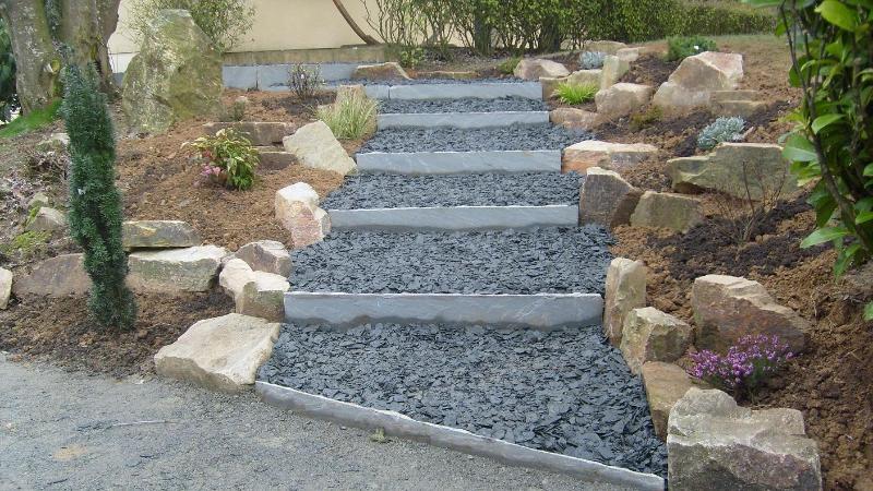 Escalier de jardin romill artisan paysagiste rennes for Escalier terrasse exterieur jardin