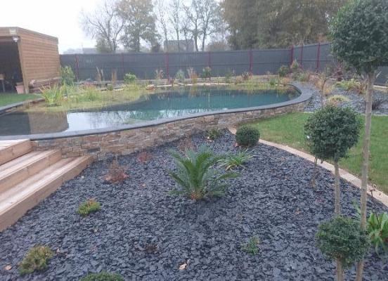 Terrasse - Piscine naturelle - Plantations